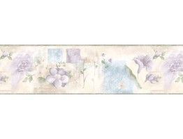 6 7/8 in x 15 ft Prepasted Wallpaper Borders - Floral Wall Paper Border BH88019B