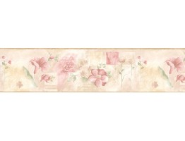 6 7/8 in x 15 ft Prepasted Wallpaper Borders - Floral Wall Paper Border BH89009B