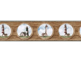 6 7/8 in x 15 ft Prepasted Wallpaper Borders - Light House Wall Paper Border BH89021B