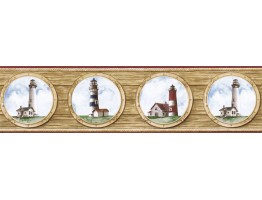 Prepasted Wallpaper Borders - Light House Wall Paper Border BH89022B