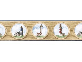 6 7/8 in x 15 ft Prepasted Wallpaper Borders - Light House Wall Paper Border BH89023B