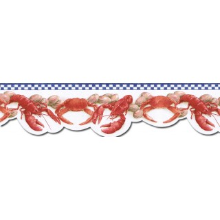 6 1/2 in x 15 ft Prepasted Wallpaper Borders - Crab Wall Paper Border BH89024DB