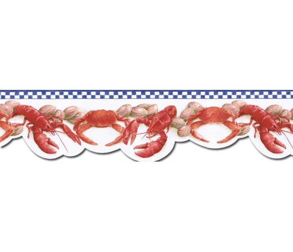 Kitchen Borders Crab Wallpaper Border BH89024DB  Chesapeake Wallcoverings