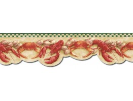 6 1/2 in x 15 ft Prepasted Wallpaper Borders - Crab Wall Paper Border BH89026DB