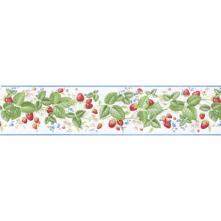5 1/8 in x 15 ft Prepasted Wallpaper Borders - Cherry Wall Paper Border B9107RKB