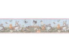 6 7/8 in x 15 ft Prepasted Wallpaper Borders - Animals Wall Paper Border B92885
