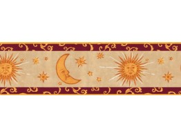 Prepasted Wallpaper Borders - Sun Moon and Stars Wall Paper Border B95809