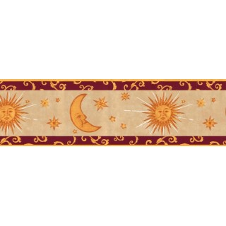 9 in x 15 ft Prepasted Wallpaper Borders - Sun Moon and Stars Wall Paper Border B95809