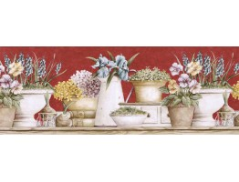 Prepasted Wallpaper Borders - Floral Wall Paper Border GS96020B