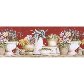 10 1/4 in x 15 ft Prepasted Wallpaper Borders - Floral Wall Paper Border GS96020B