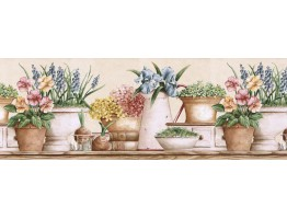 Prepasted Wallpaper Borders - Floral Wall Paper Border GS96021B