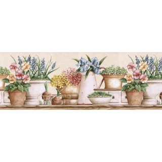 10 1/4 in x 15 ft Prepasted Wallpaper Borders - Floral Wall Paper Border GS96021B