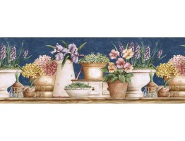 10 1/4 in x 15 ft Prepasted Wallpaper Borders - Floral Wall Paper Border GS96022B