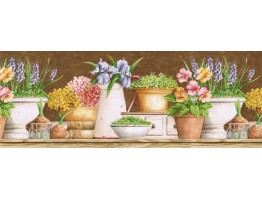 Prepasted Wallpaper Borders - Floral Wall Paper Border GS96023B