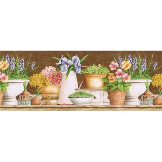 10 1/4 in x 15 ft Prepasted Wallpaper Borders - Floral Wall Paper Border GS96023B