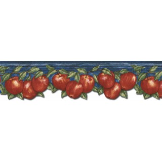 5 7/8 in x 15 ft Prepasted Wallpaper Borders - Apple Fruits Wall Paper Border GS96025DB