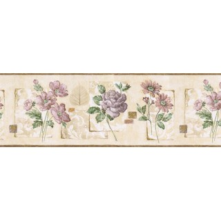 9 in x 15 ft Prepasted Wallpaper Borders - Floral Wall Paper Border GS96028B