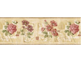 9 in x 15 ft Prepasted Wallpaper Borders - Floral Wall Paper Border GS96029B