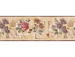 9 in x 15 ft Prepasted Wallpaper Borders - Floral Wall Paper Border GS96031B