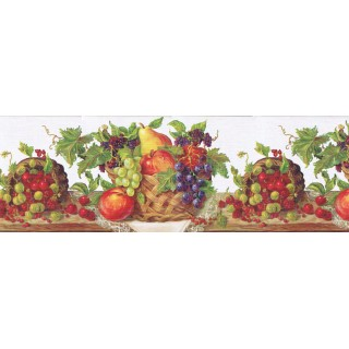 8 7/8 in x 15 ft Prepasted Wallpaper Borders - Fruits Wall Paper Border RCH970420
