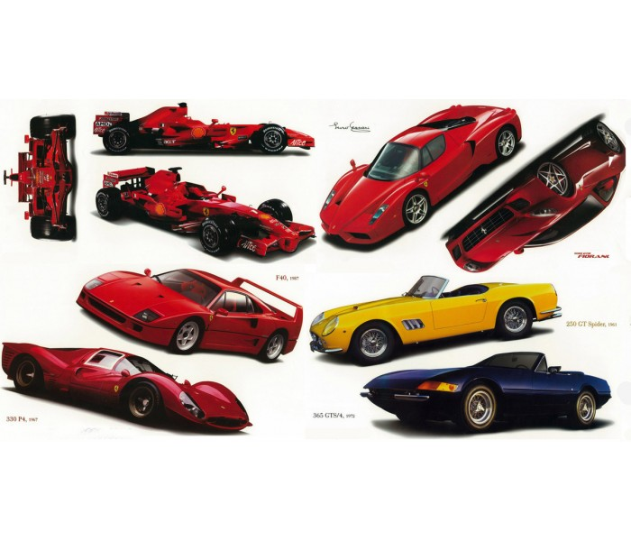 Wall Decals: Classic Ferrari Cars Set of Wall Decals 41