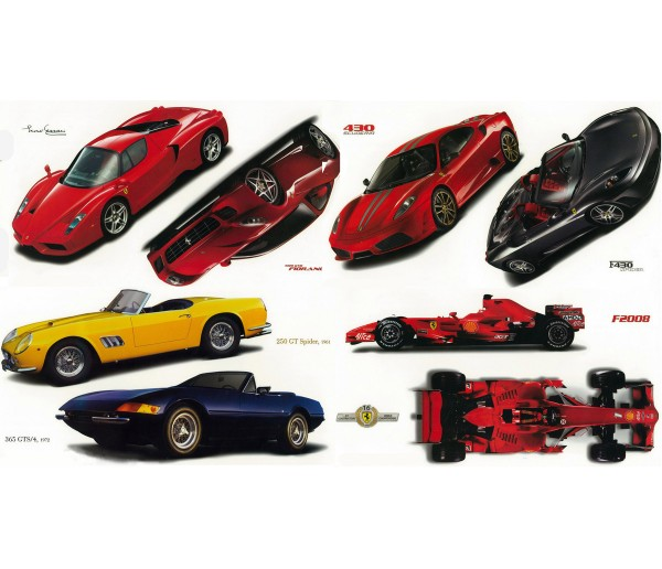 Wall Decals Classic Ferrari Cars Set of Wall Decals 42