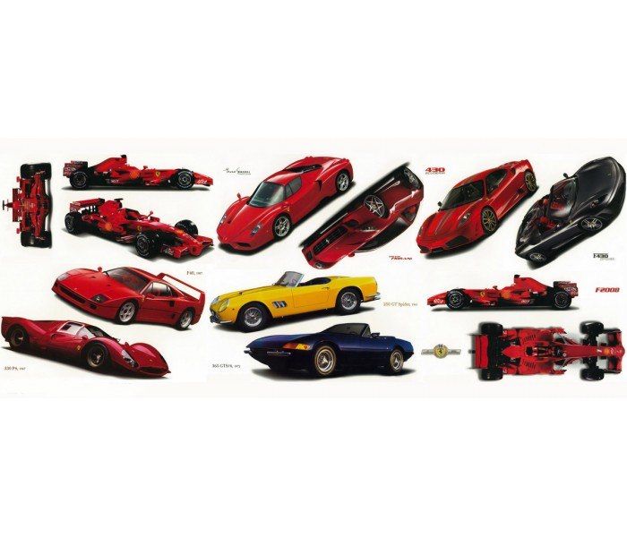 Wall Decals: Classic Ferrari Cars Set of Wall Decals