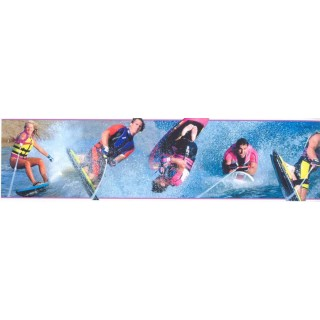 6 in x 15 ft Prepasted Wallpaper Borders - Skate Wall Paper Border SN71146F