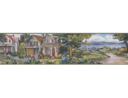 Prepasted Wallpaper Borders - Garden White Houses Wall Paper Border