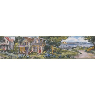 6 in x 15 ft Prepasted Wallpaper Borders - Garden White Houses Wall Paper Border