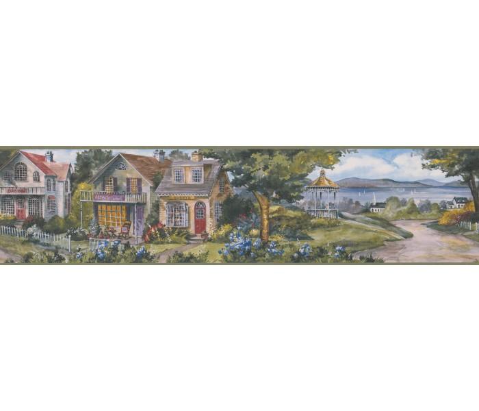 City Wallpaper Borders: Garden White Houses Wallpaper Border