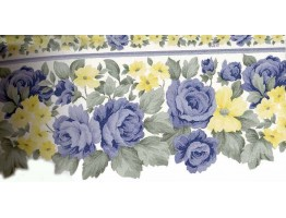 Prepasted Wallpaper Borders - Blue Roses Yellow Flowers Wall Paper Border