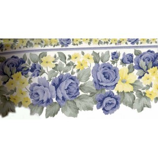 7 in x 15 ft Prepasted Wallpaper Borders - Blue Roses Yellow Flowers Wall Paper Border
