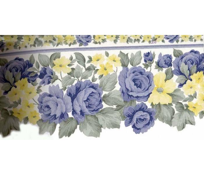 Garden Wallpaper Borders: Blue Roses Yellow Flowers Wallpaper Border