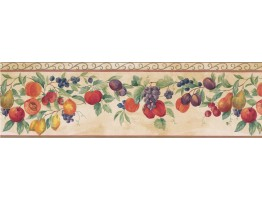 Prepasted Wallpaper Borders - Orange Tropical Fruit Wall Paper Border
