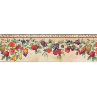 7 in x 15 ft Prepasted Wallpaper Borders - Orange Tropical Fruit Wall Paper Border