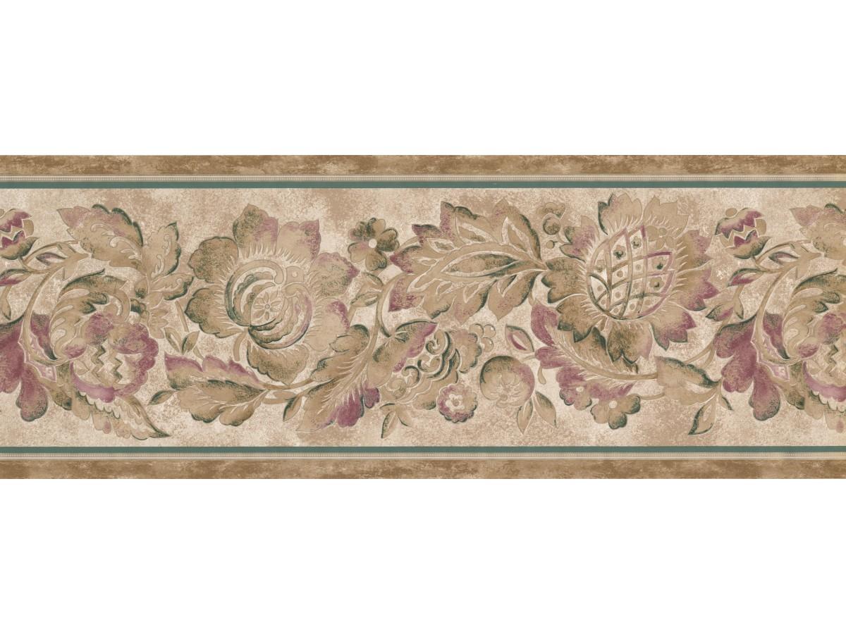 Brown Flower Wallpaper Border