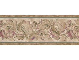 Prepasted Wallpaper Borders - Brown Flower Wall Paper Border