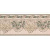 Vintage Wallpaper Borders: White Green Running Florals Wallpaper Border