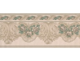Prepasted Wallpaper Borders - White Green Running Florals Wall Paper Border