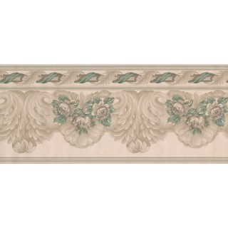 9 in x 15 ft Prepasted Wallpaper Borders - White Green Running Florals Wall Paper Border