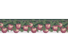 Prepasted Wallpaper Borders - Pink Apples Wall Paper Border