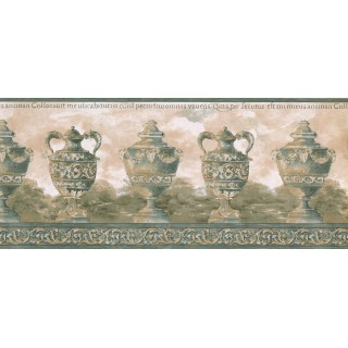 10 1/4 in x 15 ft Prepasted Wallpaper Borders - Green Antique Vase Wall Paper Border