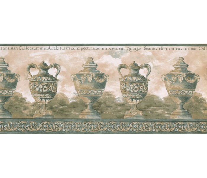Vintage Wallpaper Borders: Green Antique Vase Wallpaper Border