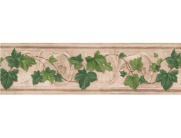 Prepasted Wallpaper Borders - Fresh Green Leaves Wall Paper Border