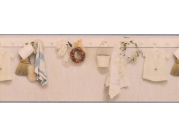 Cream Kitchen Laundry Pegboard Wallpaper Border