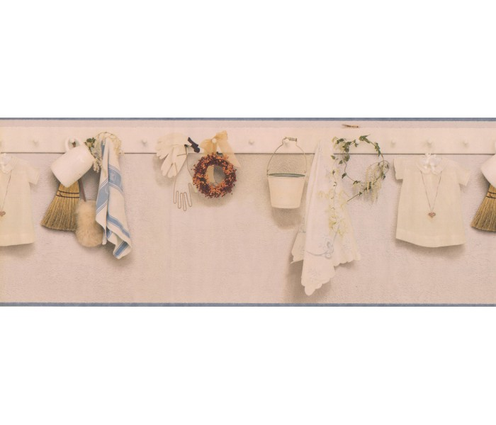 Laundry Wallpaper Borders: Cream Kitchen Laundry Pegboard Wallpaper Border