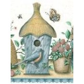 Bird Houses Wallpaper Borders: Blue Brown Birdhouses Wallpaper Border