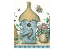 Blue Brown Birdhouses Wallpaper Border
