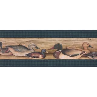 15 ft Prepasted Wallpaper Borders - Black Ducks Wall Paper Border